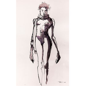 aquarelle black nude Pascal Point